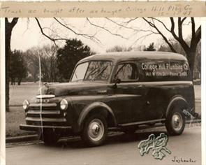 First truck we purchased in December 1, 1948 after purchasing the College Hill Plumbing company.